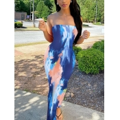 Lovely Casual Off The Shoulder Tie-dye Blue Ankle Length Dress