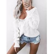 Stylish V Neck Long Sleeves White Cotton Blends Pu